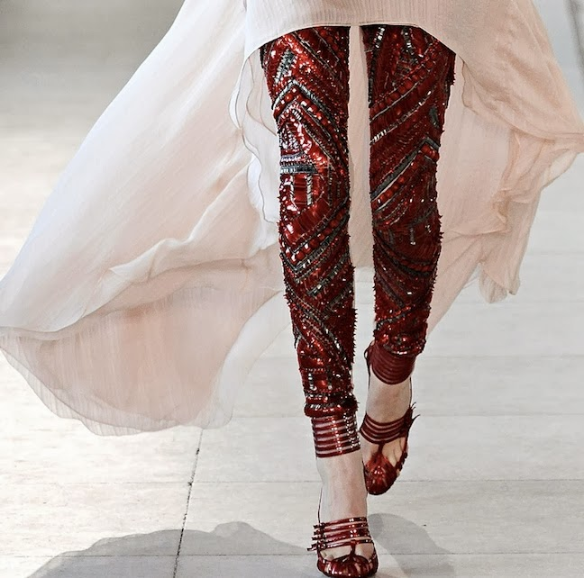 sequin pants - runway- fashion