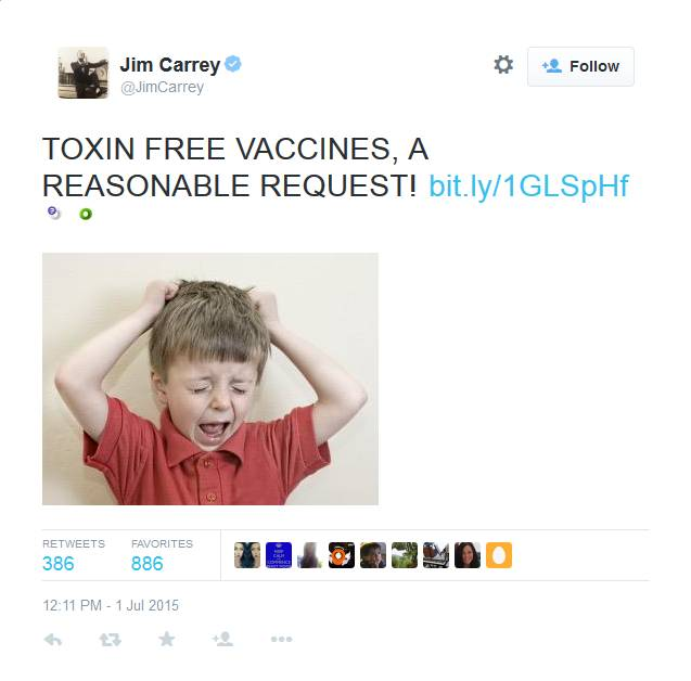 Jim Carrey: Anti-vax is as anti-vax does.