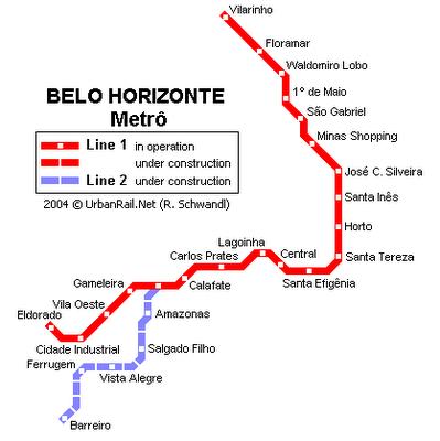 mapa das estações do metrô em Belo Horizzonte