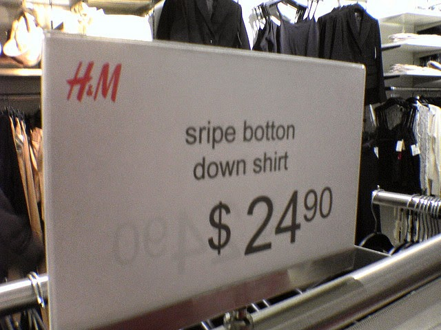 "H&M: ""sripe botton down shirt"""