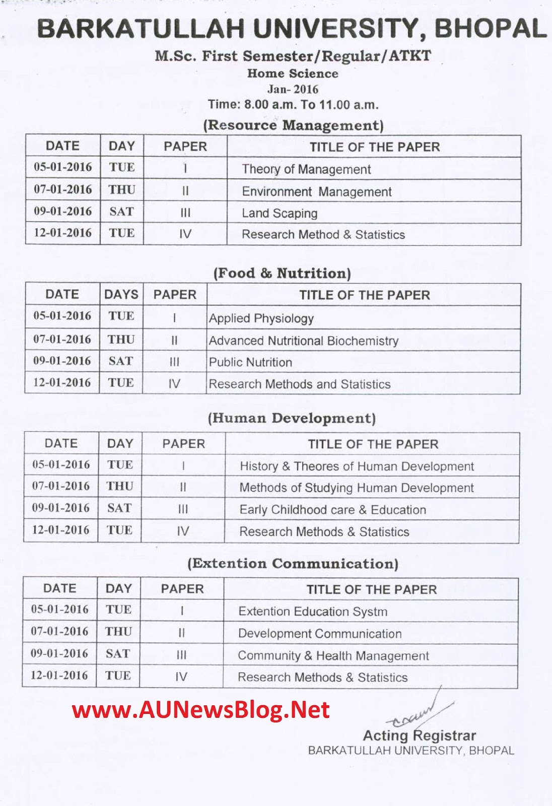 Barkatullah university pg exams time table january 2016 for Bu time table 5th sem