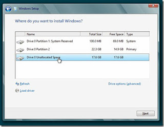 selecting unallocated space