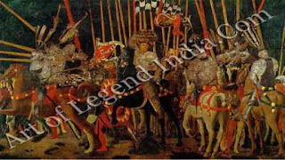"The Great Artist Paolo Uccello Painting ""The Battle of San Romano"" c.1456-60 70½"" x 124½"" Louvre, Paris"