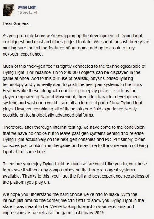 Dying Light - comunicato