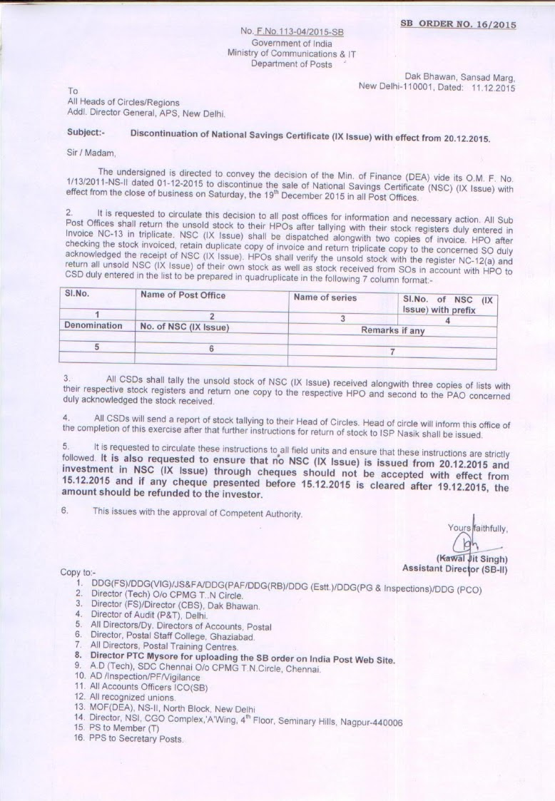 Discontinuation of national savings certificate ix issue with download original order 1betcityfo Choice Image