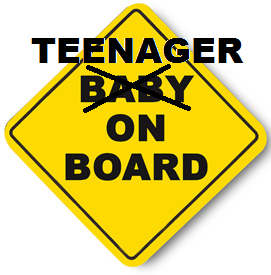 teenager baby on board sign