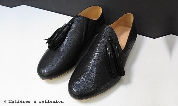 Slippers cuir noir Atelier de Sapato