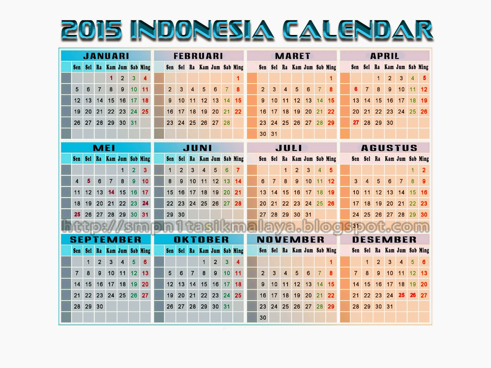 Download Kalender Tahun 2015 + Hari Libur Nasional Indonesia Format