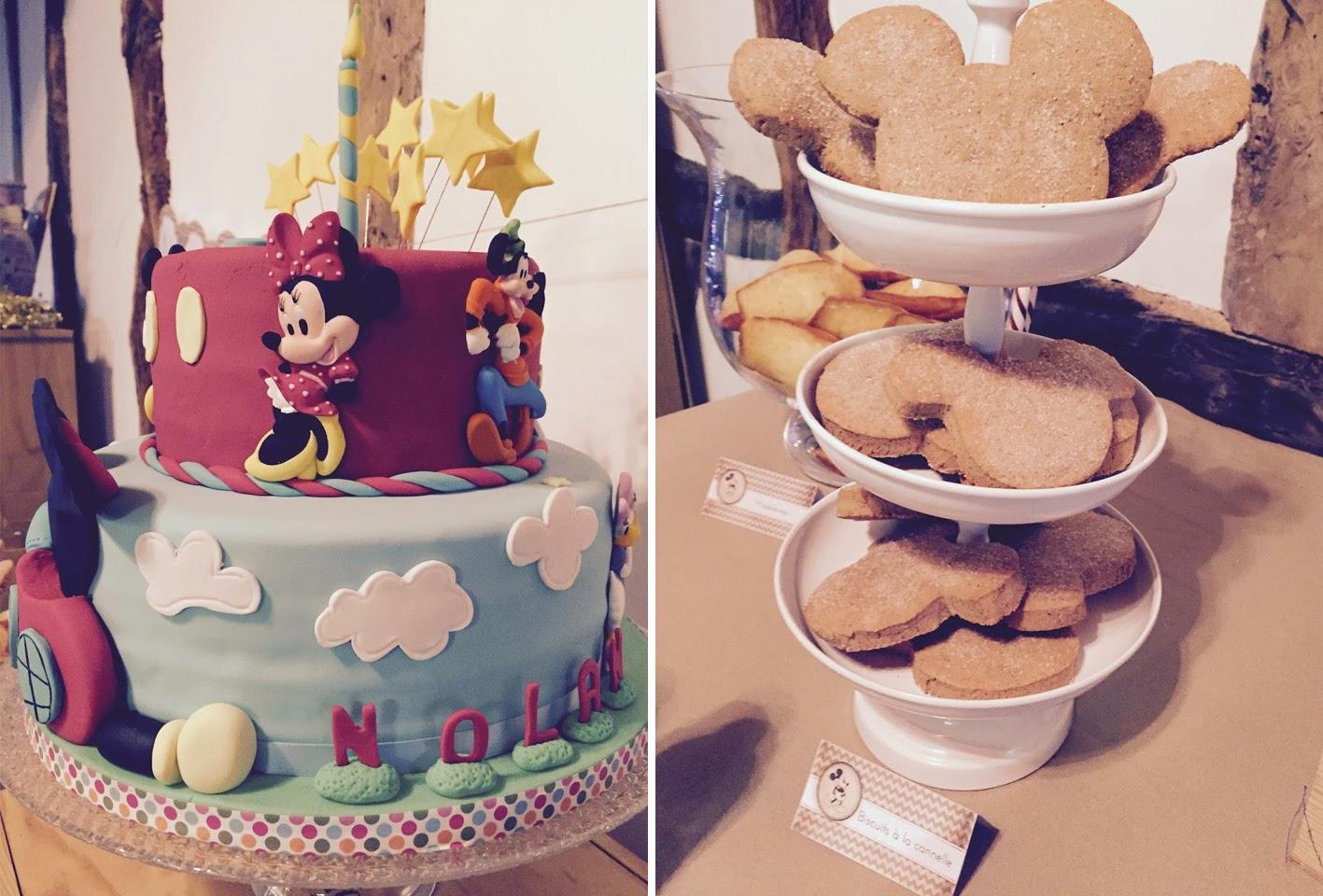 Gâteau d'anniversaire Mickey et sablés mickey