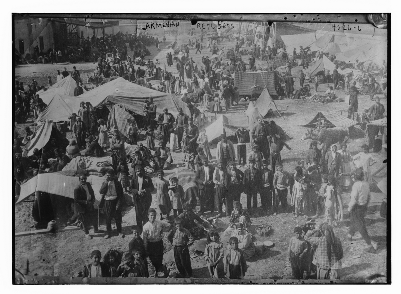 Armenian refugees, tents and horses in Syria, during World War 1.