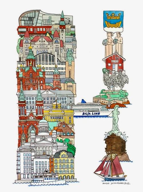 08-H-Helsinki-Finland-Hugo-Yoshikawa-Illustrated-Architectural-Alphabet-City-Typography-www-designstack-co