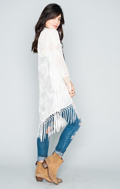 White fringe kimono by Show Me Your Mumu at Fitzroy Boutique