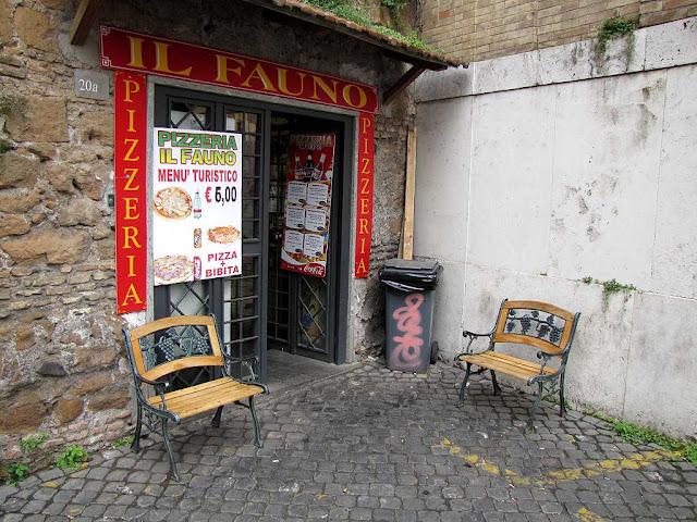 Benches, pizzeria Il Fauno, via Eudossiana, Rome