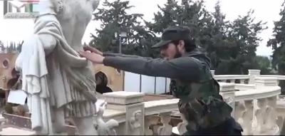 Syria: Al Qaeda FSA Terrorists Destroy Ancient Statues in a Museum in Syria fsa%2Bstatue 753540