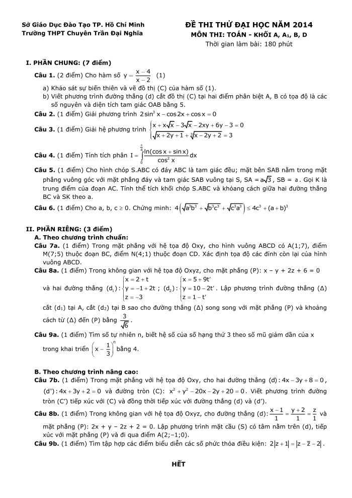 đề thi thử đại học môn toán 2014 trường thpt trần Đại Nghĩa khối A B D
