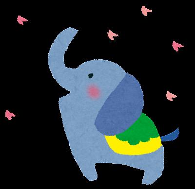 お花見をする象
