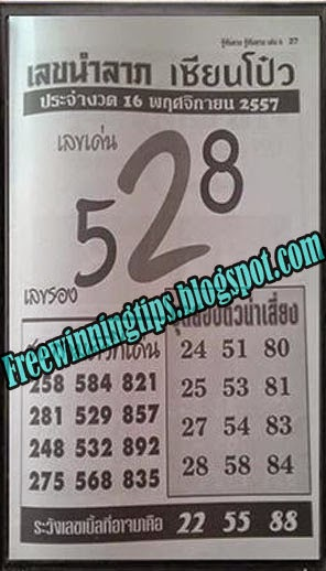 Thai Lottery Exclusive Tip Paper 16-11-2014