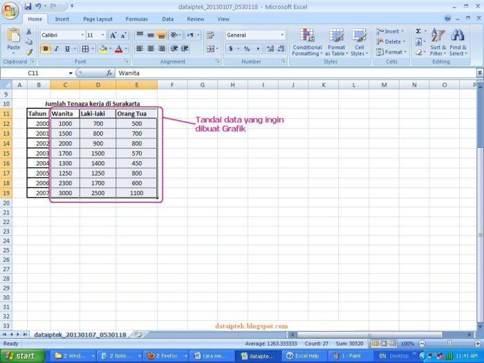 Belajar membuat grafik di excel www data iptek elektronika untuk data tahun tidak ditandai dahulu karena bukan termasuk data untuk digrafikkan hanya sebagai keterangan dalam gambar grafik ccuart Image collections