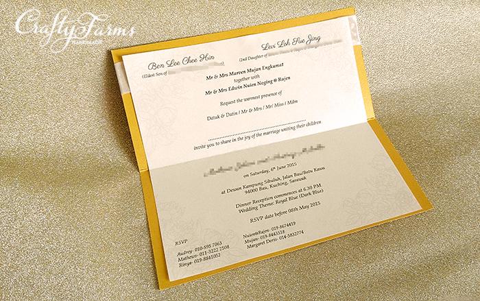 Wedding card malaysia crafty farms handmade royal gold wedding royal gold wedding invitation card with rhinestone stopboris Gallery