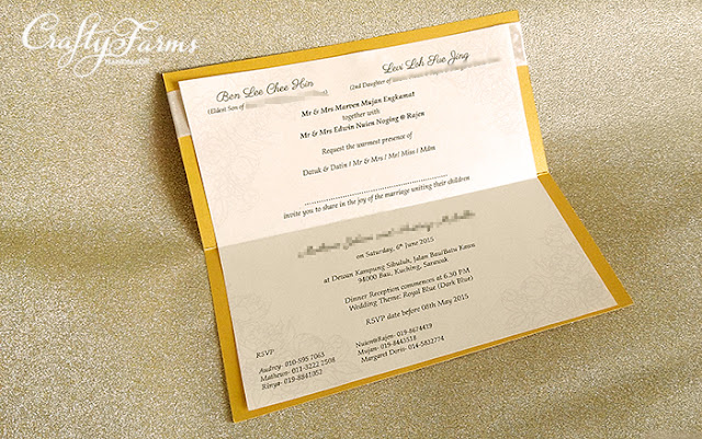 Royal Gold Wedding Invitation Card with Rhinestone Kuala Lumpur
