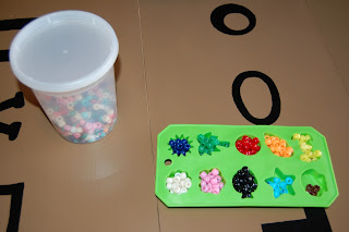 beads and ice cube tray