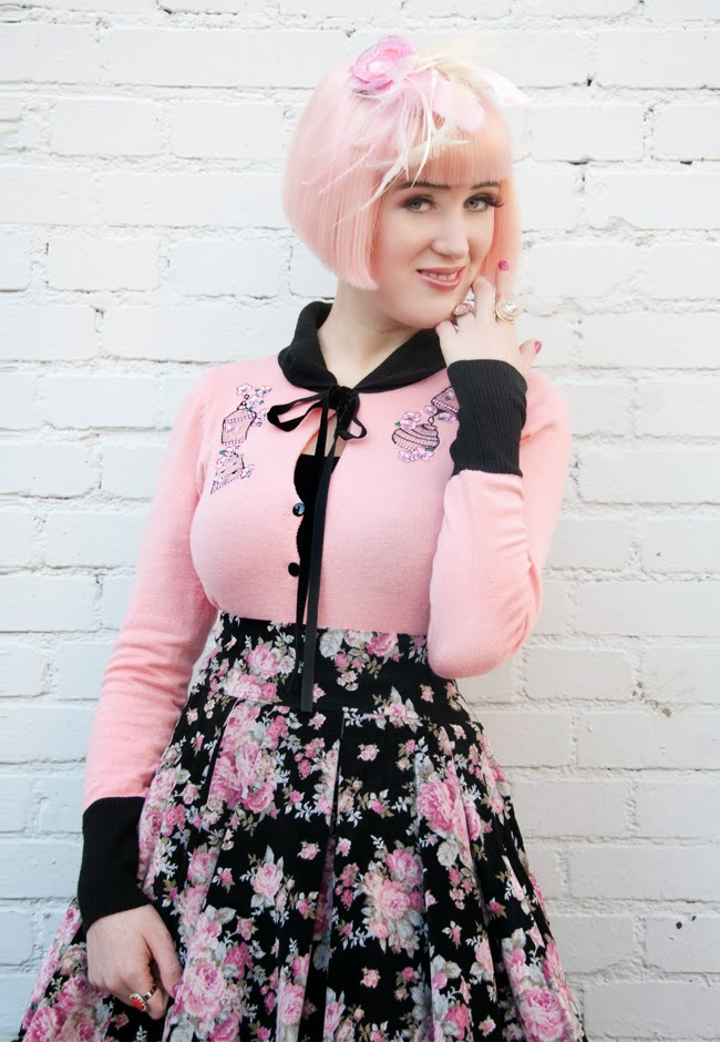 Collectif clothing, pastel pink hair, pink fascinator, vintage