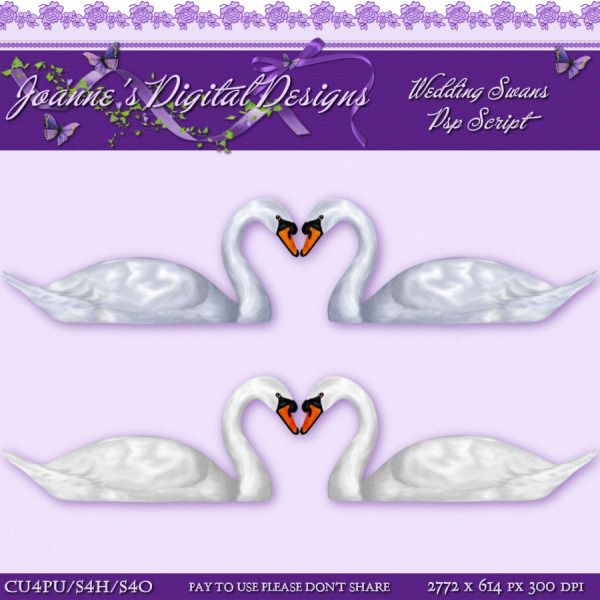 Joanne 39s Digital Designs New Wedding Swans PspScript