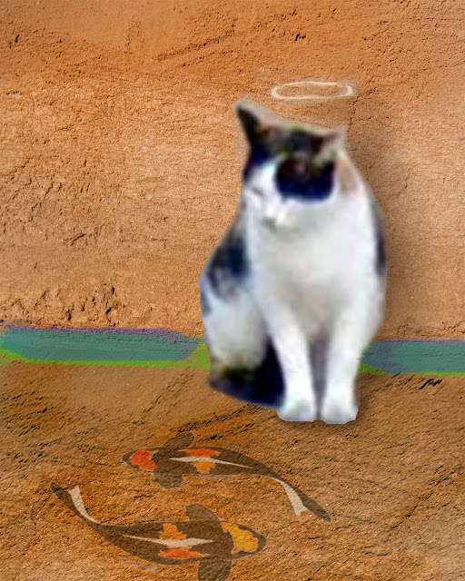 Calico Cat against orange wall with 2 Koi chalked on the ground in front of her, halo chalked in above her head