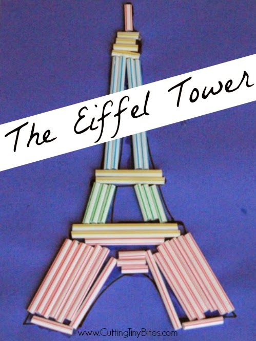 Eiffel Tower Craft for Kids. Great fine motor activity to use for France theme preschool or kindergarten.
