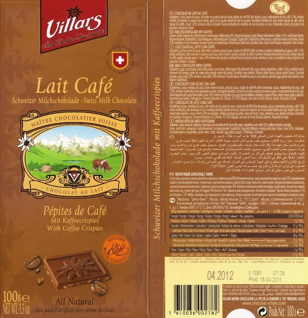 tablette de chocolat lait gourmand villars lait pépites de café