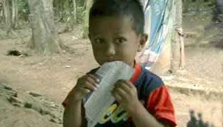 Bocah ini sedang makan kertas lho