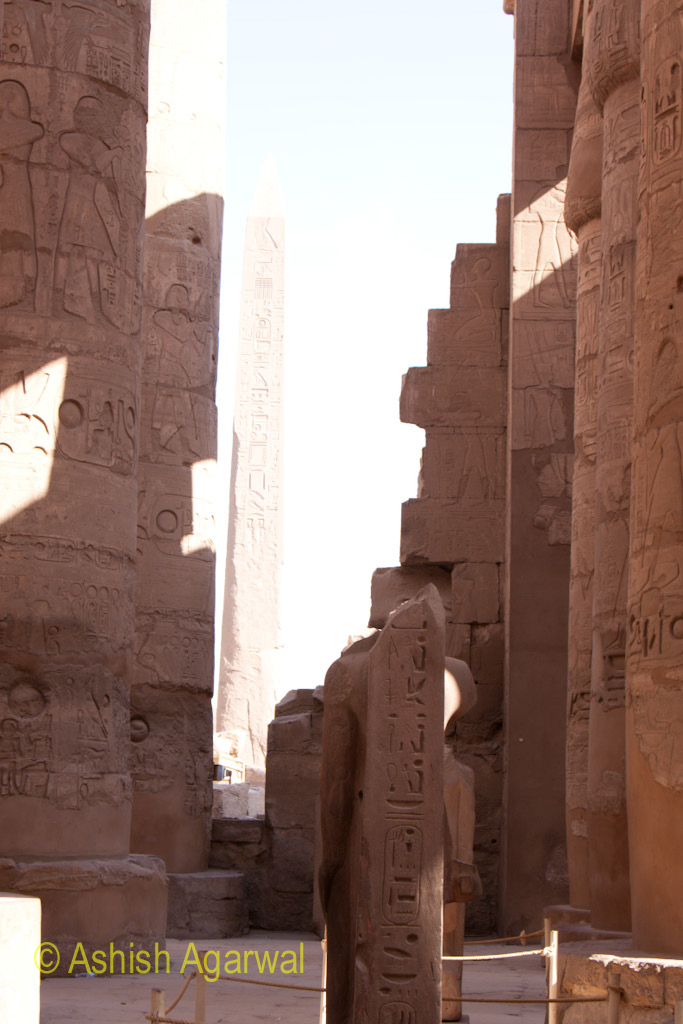 Broken section between pillars inside the Hypostyle Hall in the Karnak temple