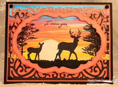 North Coast Creations Stamp sets: Deer Silhouette Greetings, Our Daily Bread Designs Custom Dies: Vintage Flourish Pattern, Vintage Labels, Flourished Star Pattern