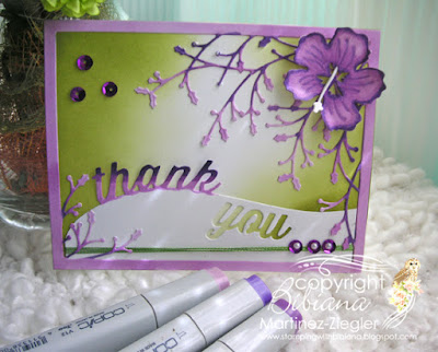 how to color die cuts thank you card front