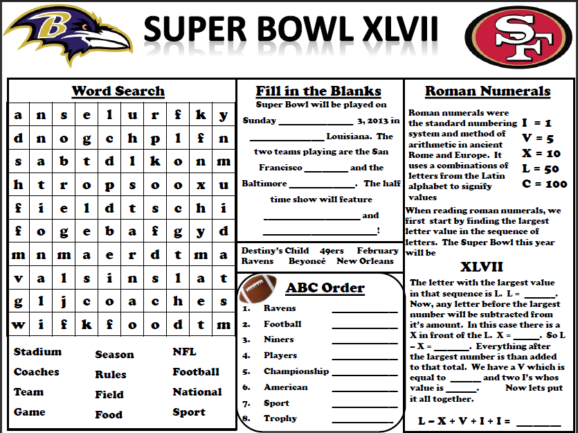 Empowered By THEM Super Bowl Activity – Super Math Worksheets
