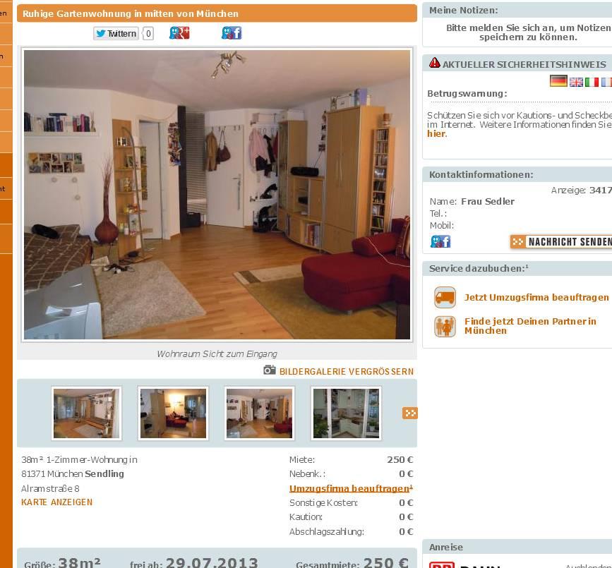38m 1 zimmer wohnung alramstra e 8 81371 m nchen sendling vorkassebetrug fraud scam. Black Bedroom Furniture Sets. Home Design Ideas