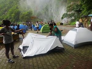 Preparing tents at Dudhsagar waater falls camping site