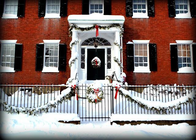 Brookwood Home, Women, Salem, Massachusetts, snow, fence, wreath, garland, christmas