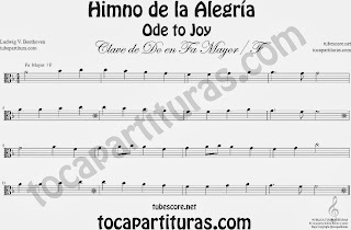 Partitura del Himno de la Alegría fácil en Fa Mayor e instrumentos de Clave de Do Viola