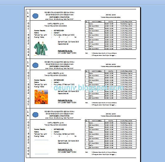 print preview kartu ujian format excel