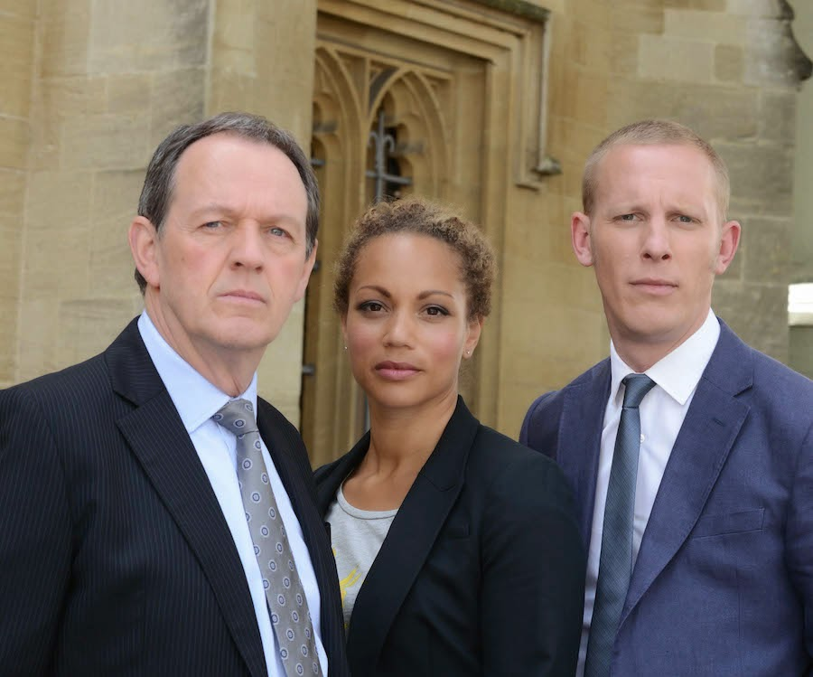 Lewis series 8 KEVIN WHATELY (DI Robert Lewis) LAURENCE FOX as Di James Hathaway and ANGELA GRIFFIN as SGT Lizzie Maddox
