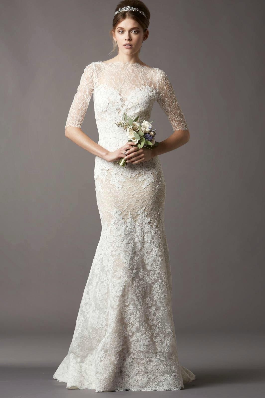 Modern Modest Wedding Dresses With Half Sleeve Ideas Photos HD