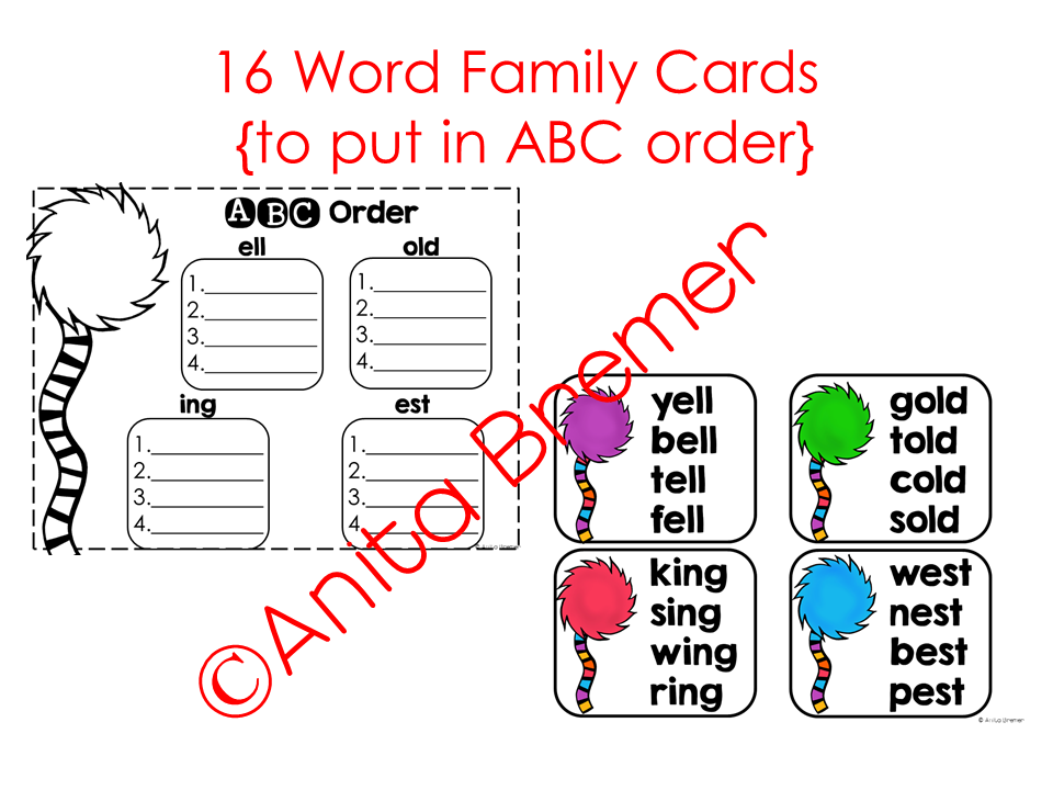 Each card has four words on it, all from one word family. Students ...