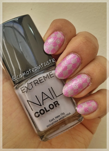 nail art, rombos, diamonds, farmacity, esmalte, gris, grey
