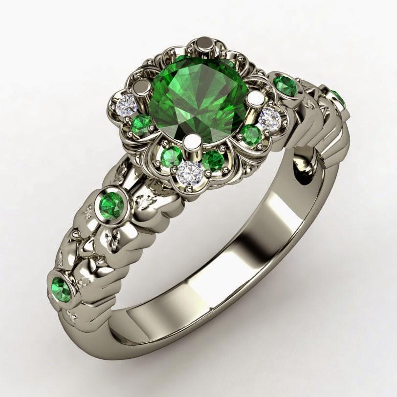 Women's Green Diamond Wedding Rings Sterling Silver Model