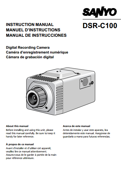 Sanyo DSR-C100 Camcoder Manual