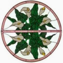 Stained Glass Transom Window Art front door circle
