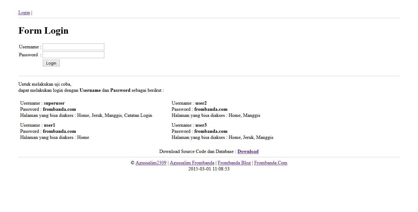 Frombanda: Membuat Login PHP dan Hak Akses Multi User