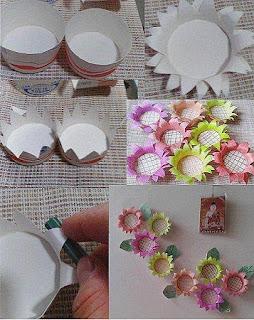 Girasoles con Envases de Carton, Manualidades Faciles