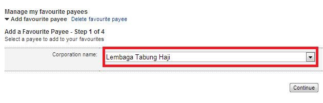 """Lepastu pilih """"Lembaga Tabung Haji"""" dan klik continue"""
